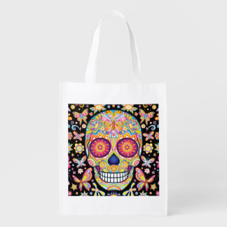 Sugar Skull Reusable Bag - Day of the Dead Bag Grocery Bags