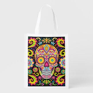 Sugar Skull Reusable Bag - Day of the Dead Bag Reusable Grocery Bag