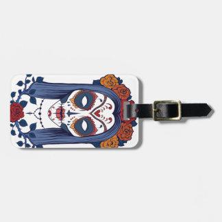 Sugar Skull Rose Luggage Tag