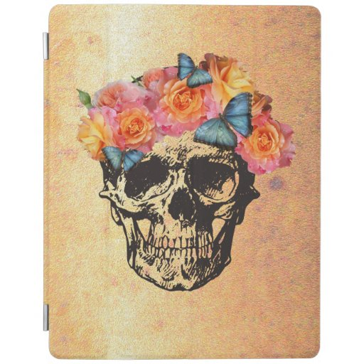 Sugar Skull Roses Golden Skull Art iPad Smart Cover