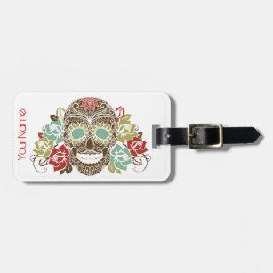Sugar Skull & Roses Luggage Tag w/ leather strap
