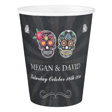 Halloween Themed Sugar Skull Roses Paper Cups Halloween Wedding