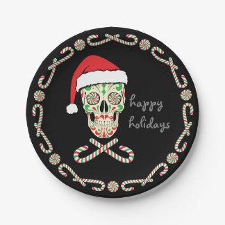 sugar skull santa plate