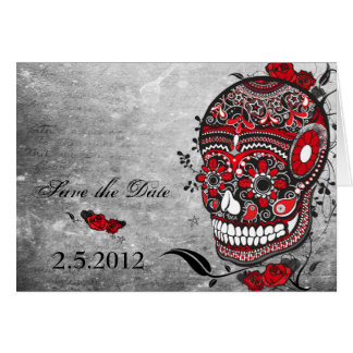 Sugar Skull Save the Date Wedding Notecard Greeting Card