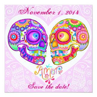 Sugar Skull Save the Dates - Art by Thaneeya Card