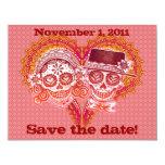 Sugar Skull Save the Dates 4.25x5.5 Paper Invitation Card