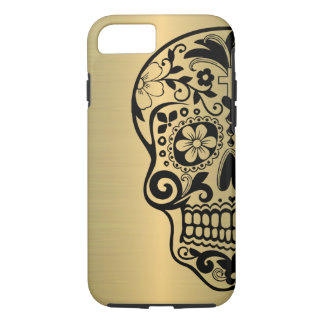 Sugar Skull Silhouette On Faux Shiny Gold iPhone 7 Case