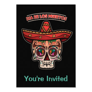 Sugar Skull Sombrero Dia de los Muertos Invitation