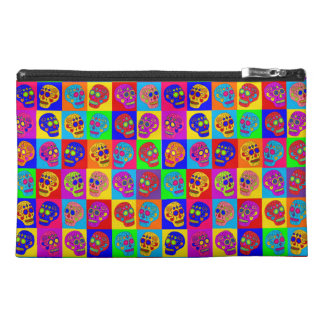Sugar Skull Squares Travel Accessory Bag