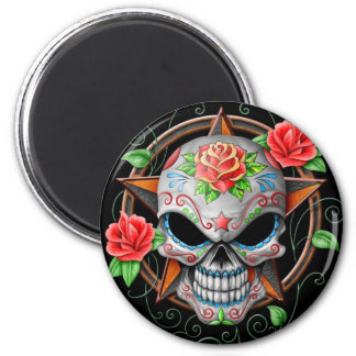 Sugar Skull Star, black Magnet