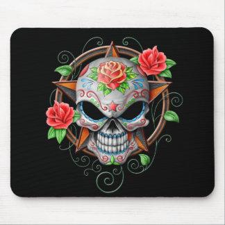 Sugar Skull Star, black Mousepad