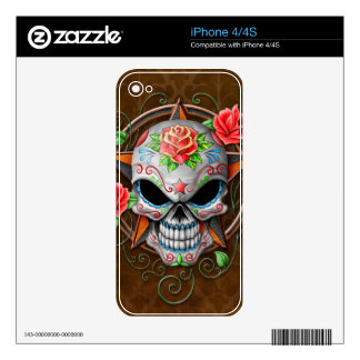 Sugar Skull Star, brown Decals For iPhone 4S