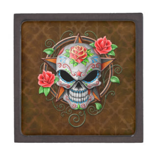 Sugar Skull Star, brown Premium Trinket Box