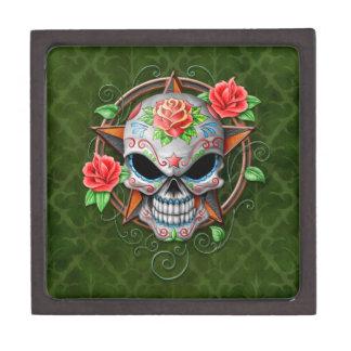Sugar Skull Star, green Premium Keepsake Boxes