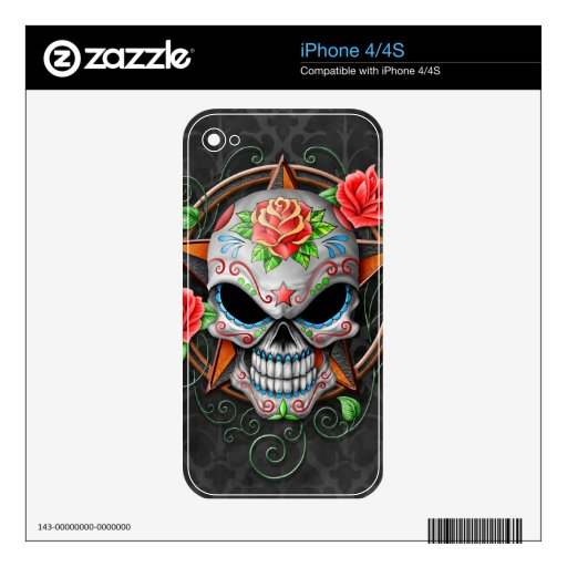 Sugar Skull Star, grey Skin For The iPhone 4S