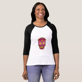 Sugar Skull T-Shirt in Purple for Halloween
