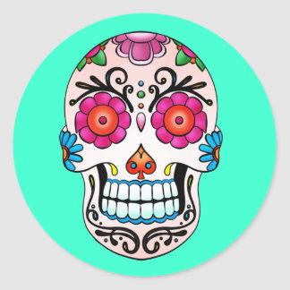 Sugar Skull - Tattoo Art Classic Round Sticker