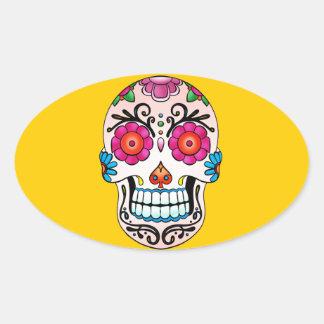 Sugar Skull - Tattoo Art Oval Sticker