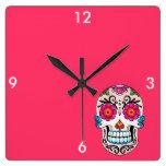 Sugar Skull - Tattoo Art Square Wall Clock