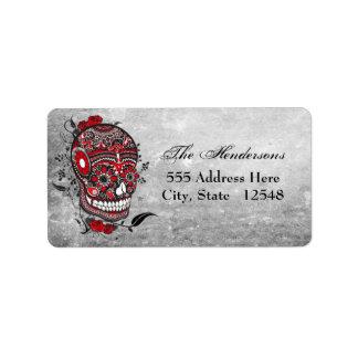 Sugar Skull Tattoo Design Mexican Illustration Address Label