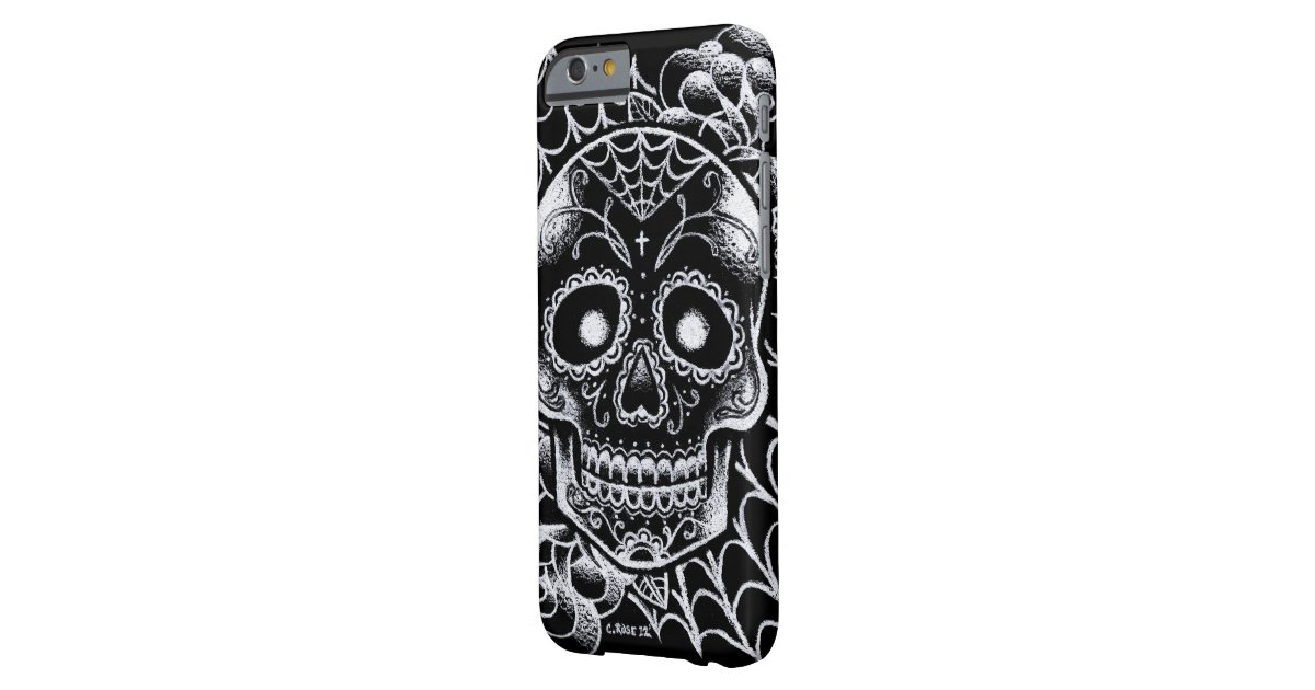 Sugar skull tattoo flash barely there iphone 6 case zazzle for Tattoo artist iphone cases