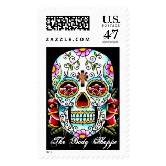 sugar skull, The Body Shoppe Postage Stamp