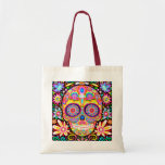 """Sugar Skull Tote Bag - Day of the Dead Art<br><div class=""""desc"""">This Sugar Skull Tote Bag features a funky,  colorful and psychedelic Dia de los Muertos sugar skull surrounded by whimsical shapes and flowers created by artist Thaneeya McArdle.</div>"""