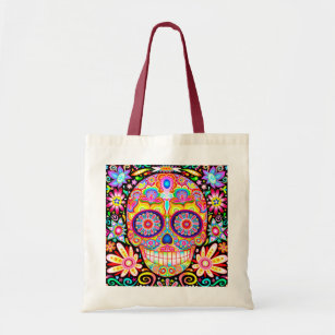 day of the dead gifts sugar skull handbag dia de los muertos tote bag, gifts for friends best gifts tutu tote halloween gift bags
