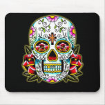 Sugar Skull w/ flowers Mouse Pad