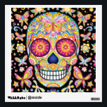 """Sugar Skull Wall Decal - Day of the Dead Art<br><div class=""""desc"""">This Sugar Skull Wall Decal features a colorful psychedelic sugar skull celebrating Mexico&#39;s Day of the Dead,  or Dia de los Muertos. The funky design for this Sugar Skull Wall Decal features the original artwork of Thaneeya McArdle.</div>"""