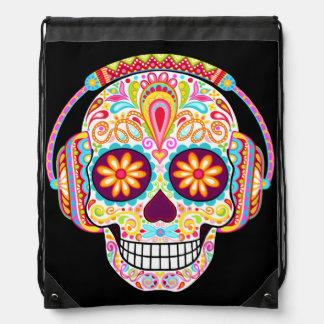 Sugar Skull Wearing Headphones Drawstring Backpack