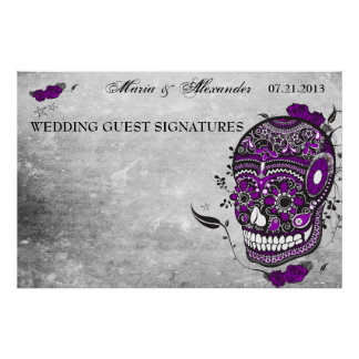 Sugar Skull Wedding Guest Signature Poster