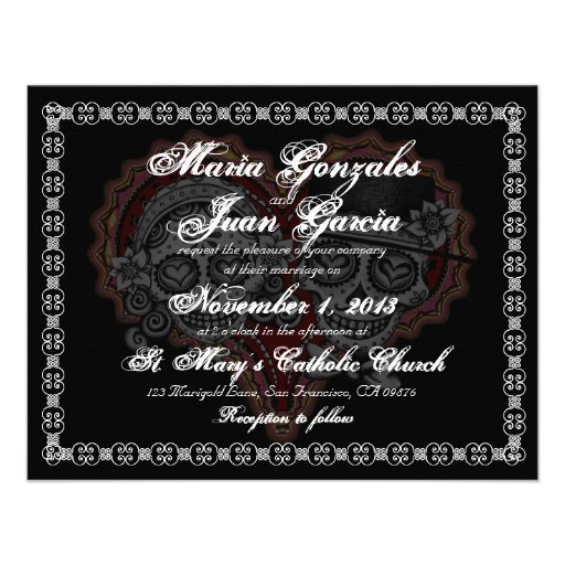 Personalized Dia de los muertos Invitations CustomInvitations4Ucom