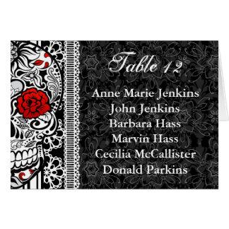 Sugar Skull Wedding Reception Table Guest List Card