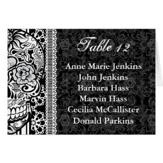 Sugar Skull Wedding Reception Table Guest List Greeting Card