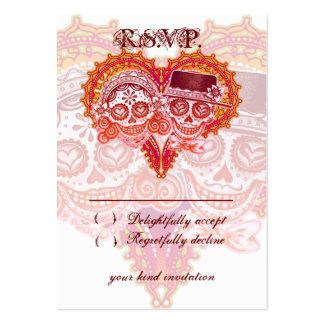 Sugar Skull Wedding RSVP Cards Business Card Template