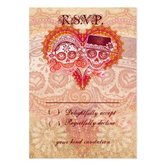 Sugar Skull Wedding RSVP Cards Large Business Cards (Pack Of 100)