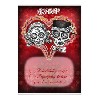 Sugar Skull Wedding RSVP Cards - Day of the Dead