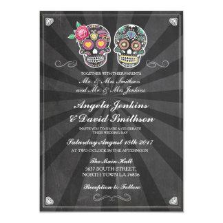 Sugar Skull Wedding Rustic Chalk Lights Invite