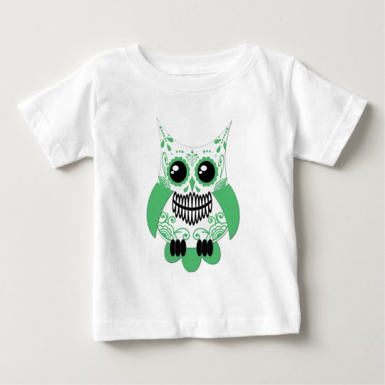 Sugar Skull White Green Owl.png Baby T-Shirt