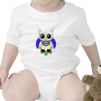 Sugar Skull White Multi Owl Baby Bodysuits