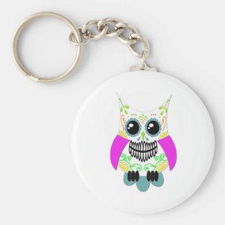 Sugar Skull White Multi Pink Owl Keychains