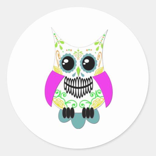 Sugar Skull White Multi Pink Owl Stickers
