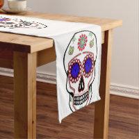Sugar Skull With Blue Eyes and Green Fleur de Lis Short Table Runner