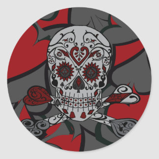 Sugar Skull with Crossbones Playing Card Design Classic Round Sticker