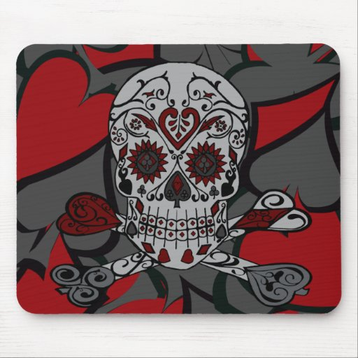 Sugar Skull with Crossbones Playing Card Design Mouse Pad
