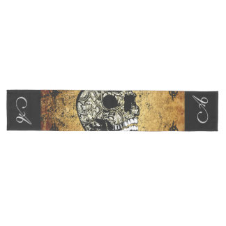 Sugar skull with decorative damask medium table runner