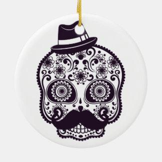 Sugar Skull with Fedora Hat Ceramic Ornament