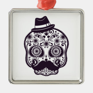 Sugar Skull with Fedora Hat Metal Ornament