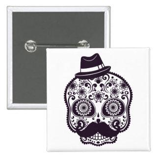 Sugar Skull with Fedora Hat Pinback Button